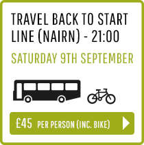 Travel back to Start Line (Nairn) Saturday 9th Sept 21:00 - Person and Bike