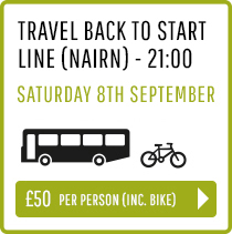 Travel back to Start Line (Nairn) Saturday 8th Sept 21:00 - Person and Bike