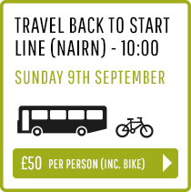 Travel back to Start Line (Nairn) Sunday 9th Sept 10:00 - Person and Bike