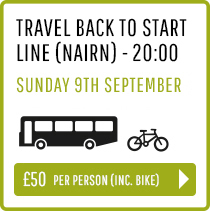 Travel back to Start Line (Nairn) Sunday 9th Sept 20:00 - Person and Bike