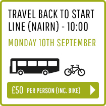 Travel back to Start Line (Nairn) Monday 10th Sept 10:00 - Person and Bike